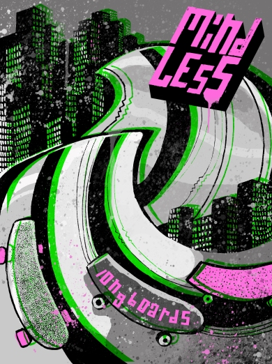 poster green pink greyscale